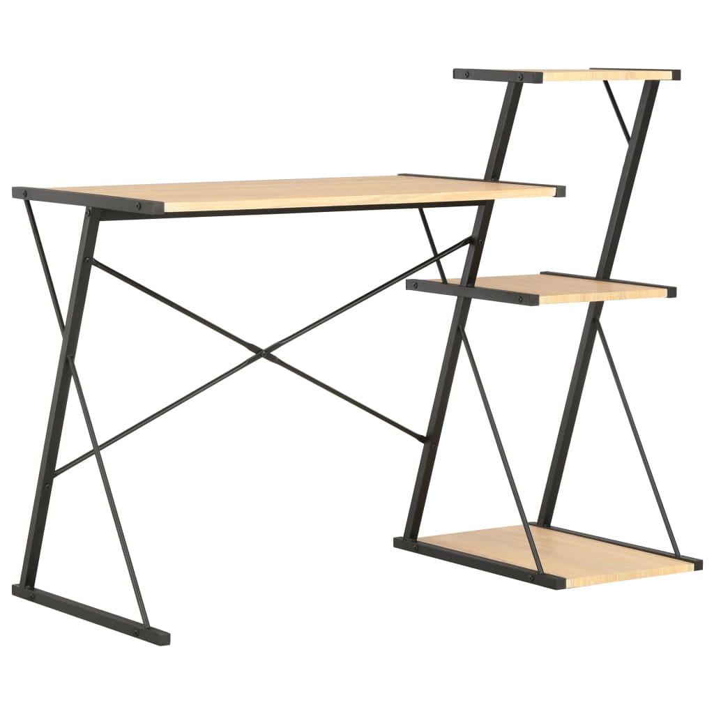 Γραφείο με ράφι μαύρο και δρυς 116x50x93 cm