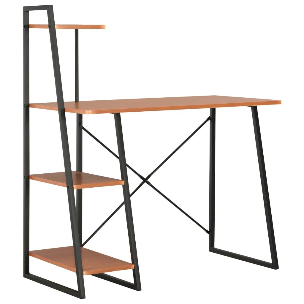 Bureau avec étagère noir et marron 102x50x117 cm