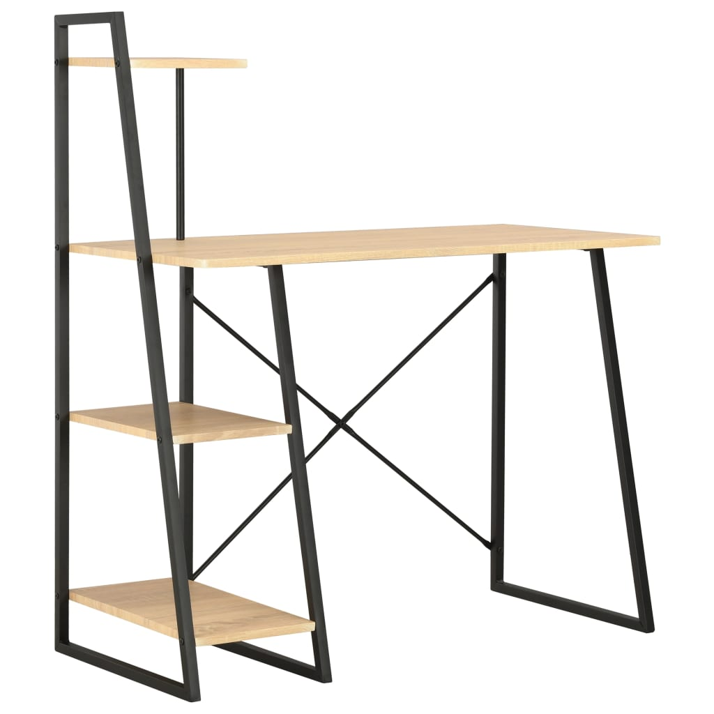 Γραφείο με Ράφια Μονάδα Μαύρο και Δρυς 102x50x117 cm
