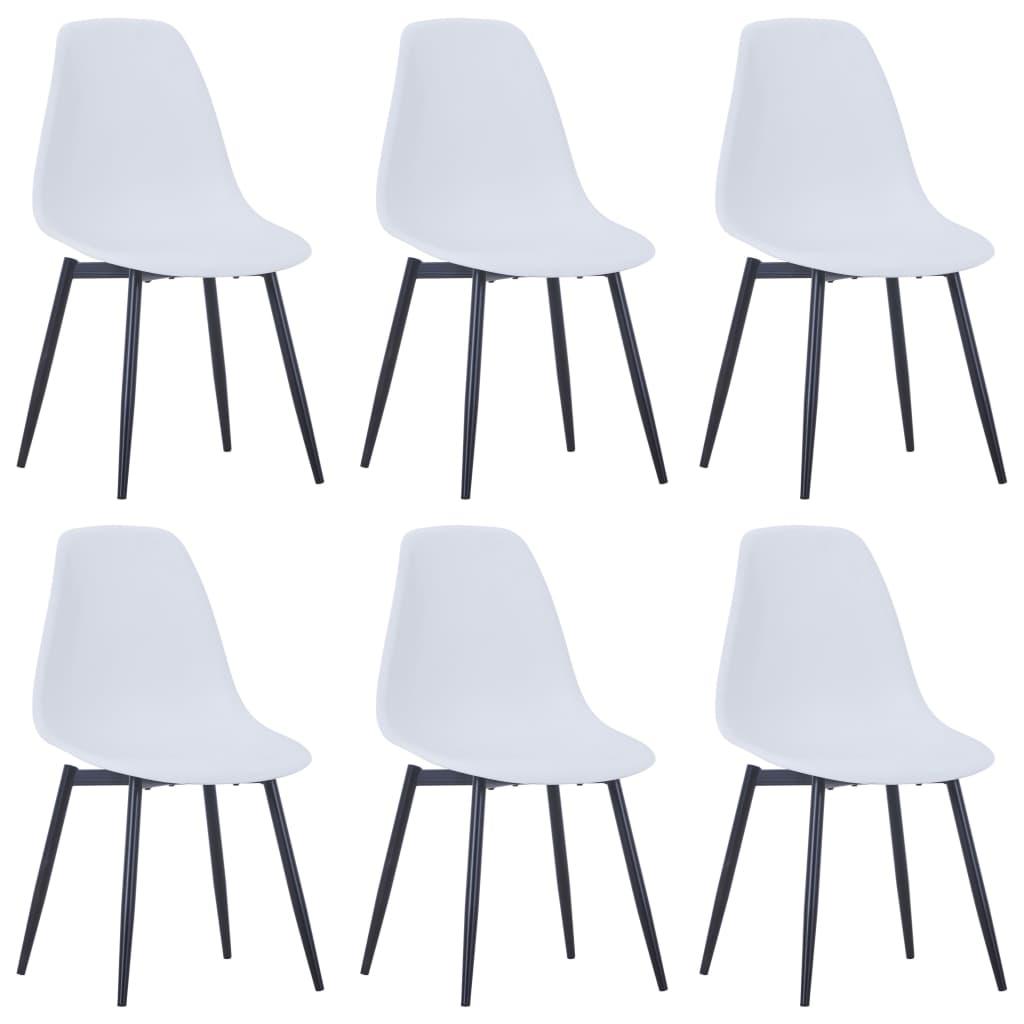Chaises de salle à manger 6 pcs blanc PP
