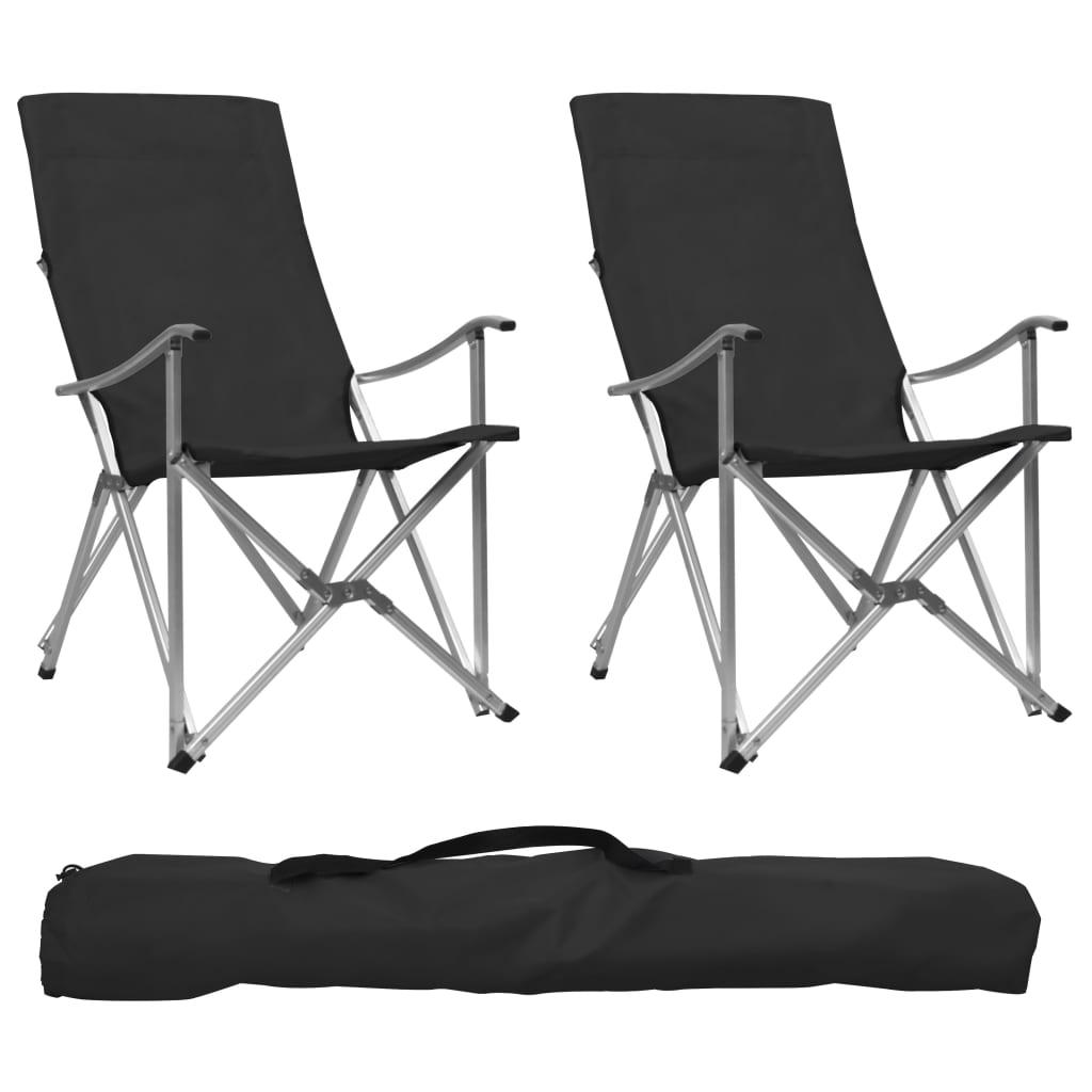 Składane krzesła kempingowe 2 szt.Czarne