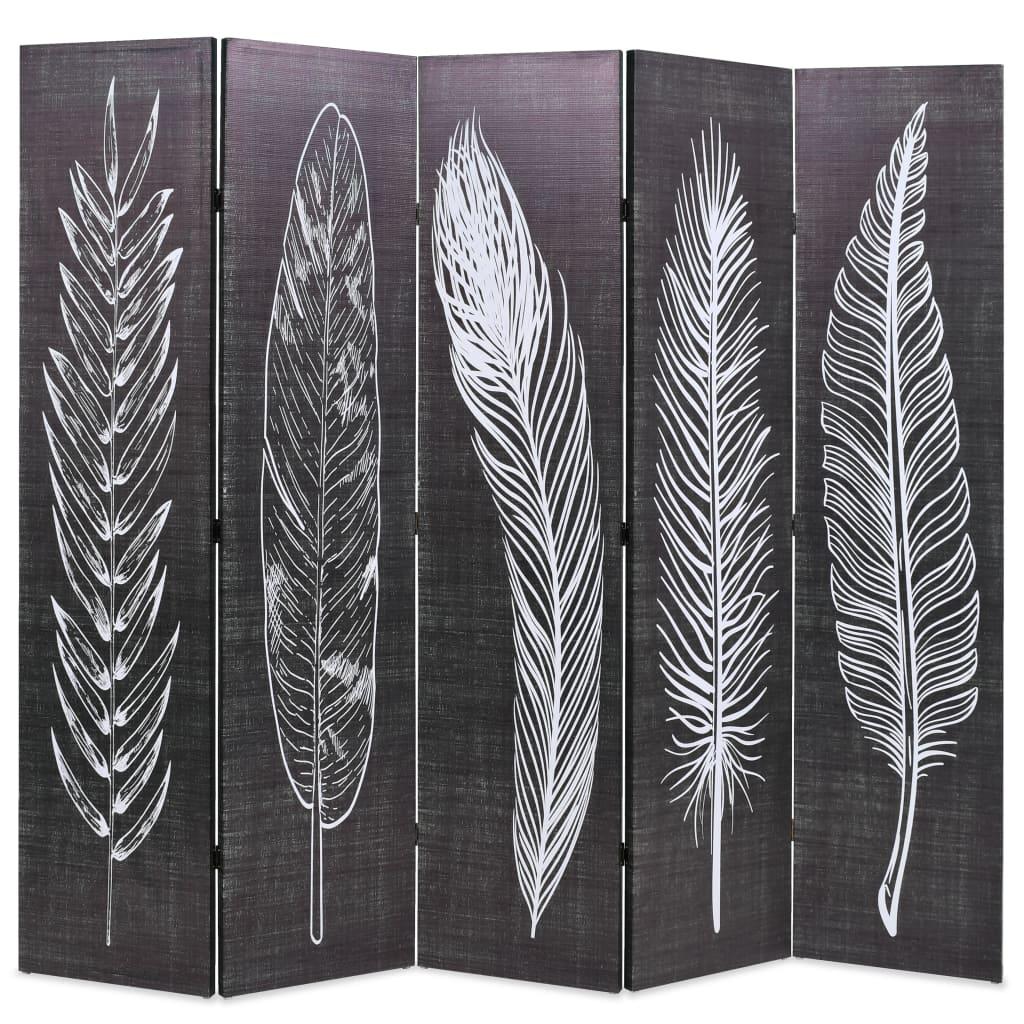 Cloison pliante 200x170 cm Plumes noir et blanc