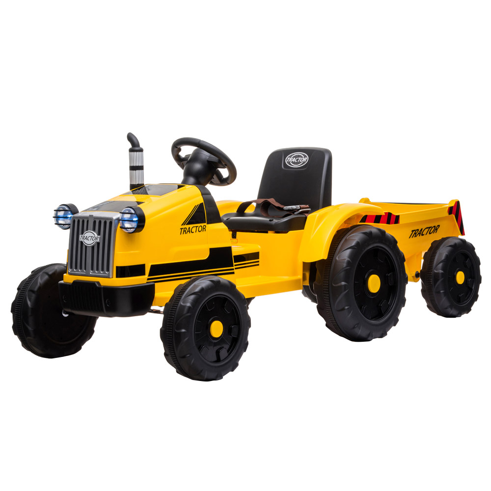 LEADZM LZ-9959 Toy Tractor with Trailer 3-Gear-Shift Ground Loader LED Lights - Yellow