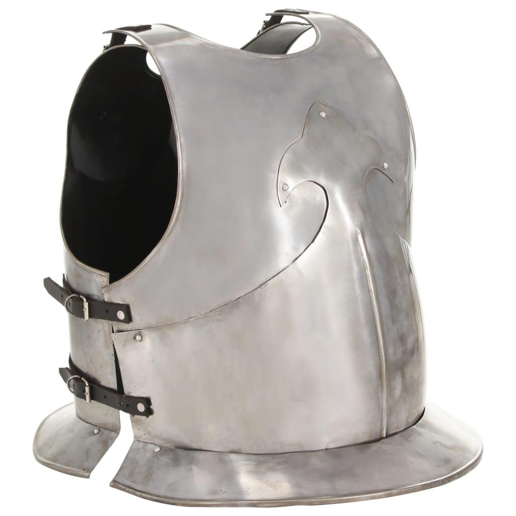 Armure de corps de chevalier médiéval réplique de cuirasse GN acier argenté