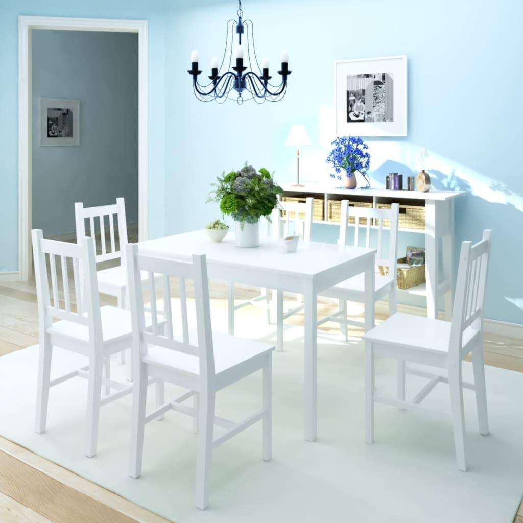 Ensemble de salle à manger sept pièces en pin blanc