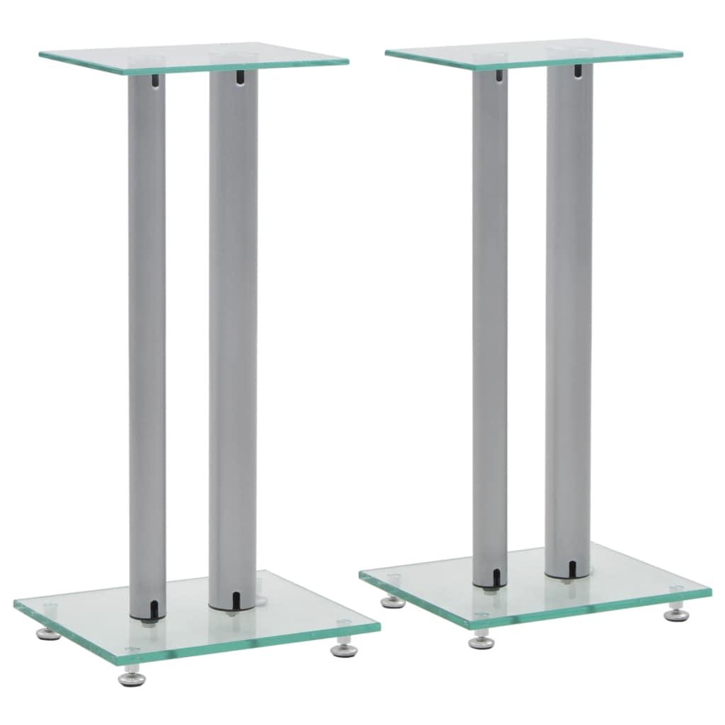 Стойки для колонок 2 шт. Закаленное стекло 2 колонны Дизайн Серебристый