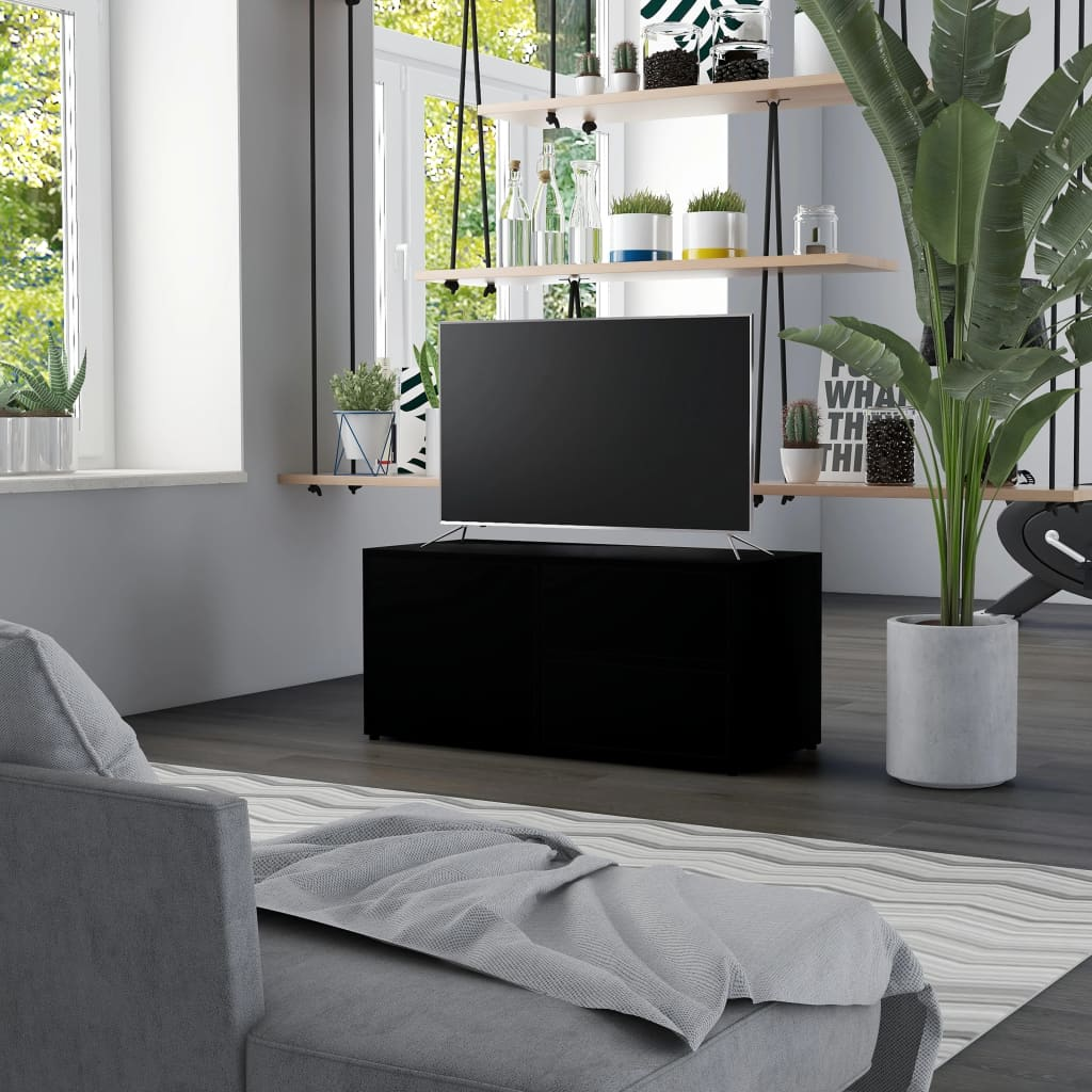 Meuble TV noir 80x34x36 cm aggloméré
