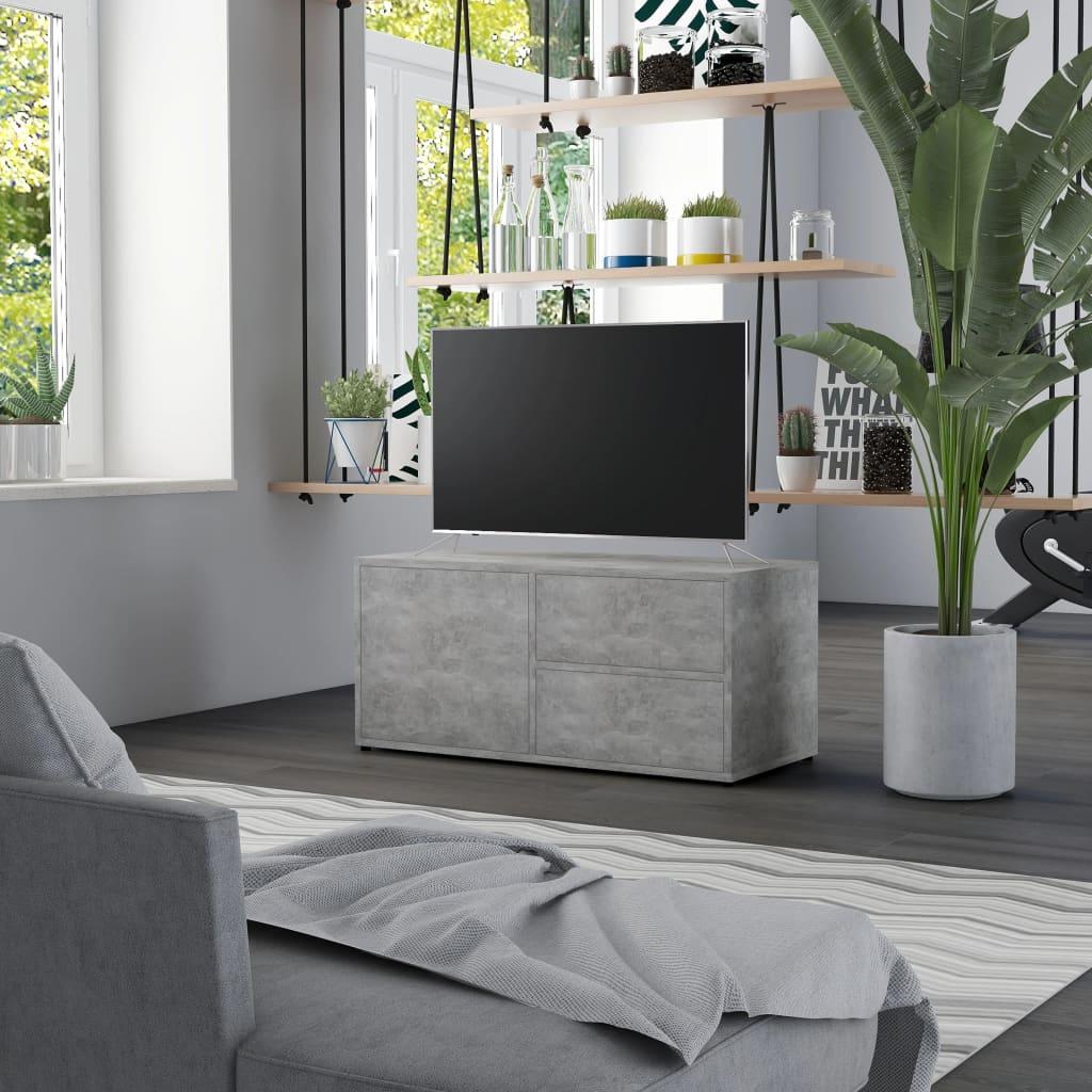 Meuble TV gris béton 80x34x36 cm aggloméré