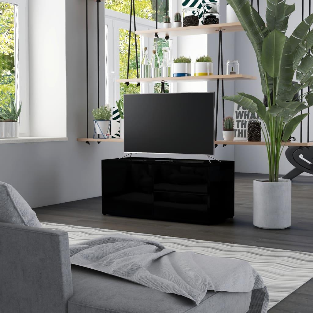 Meuble TV noir brillant 80x34x36 cm aggloméré