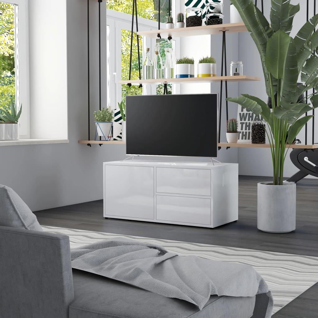 Meuble TV blanc brillant 80x34x36 cm aggloméré
