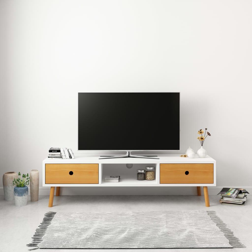 Meuble TV Blanc 120x35x35 cm Pin massif