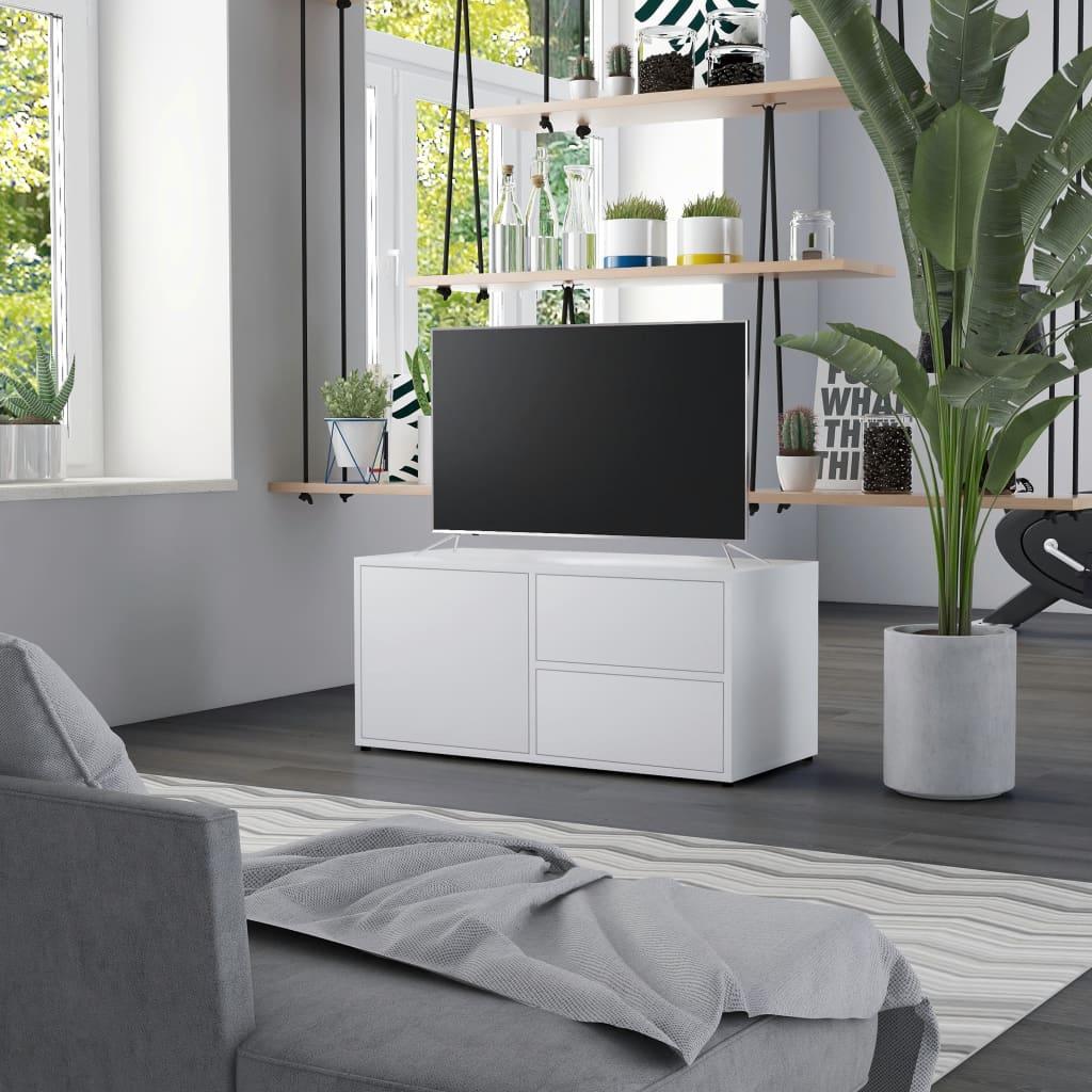 Meuble TV Blanc 80x34x36 cm Aggloméré