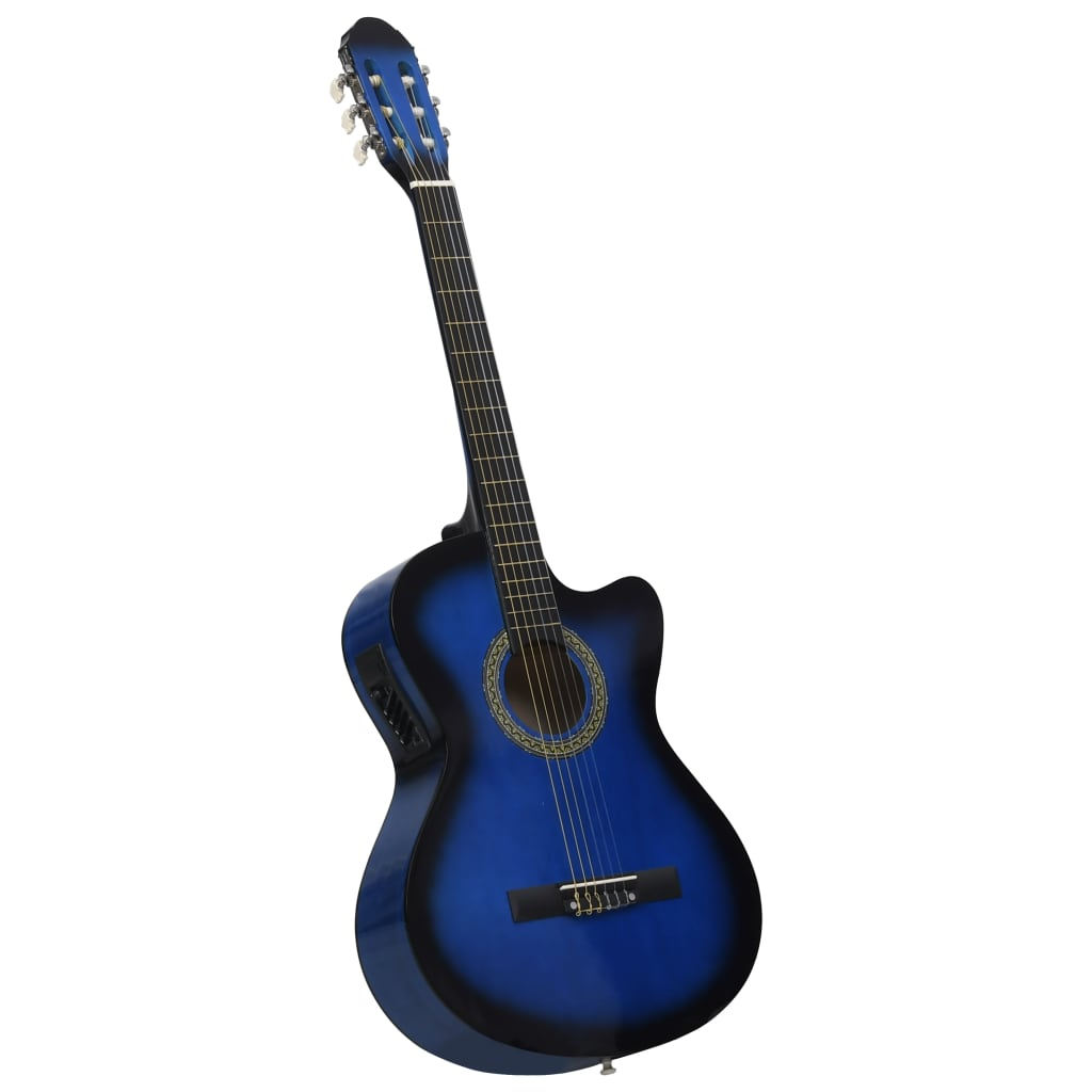 Western Acoustic Cutaway Guitar with Equalizer 6 Strings Blue