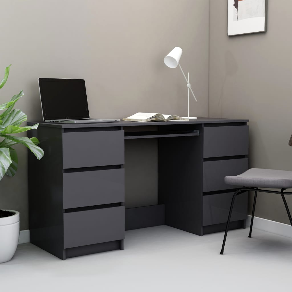 Bureau en aggloméré gris brillant 140x50x77 cm