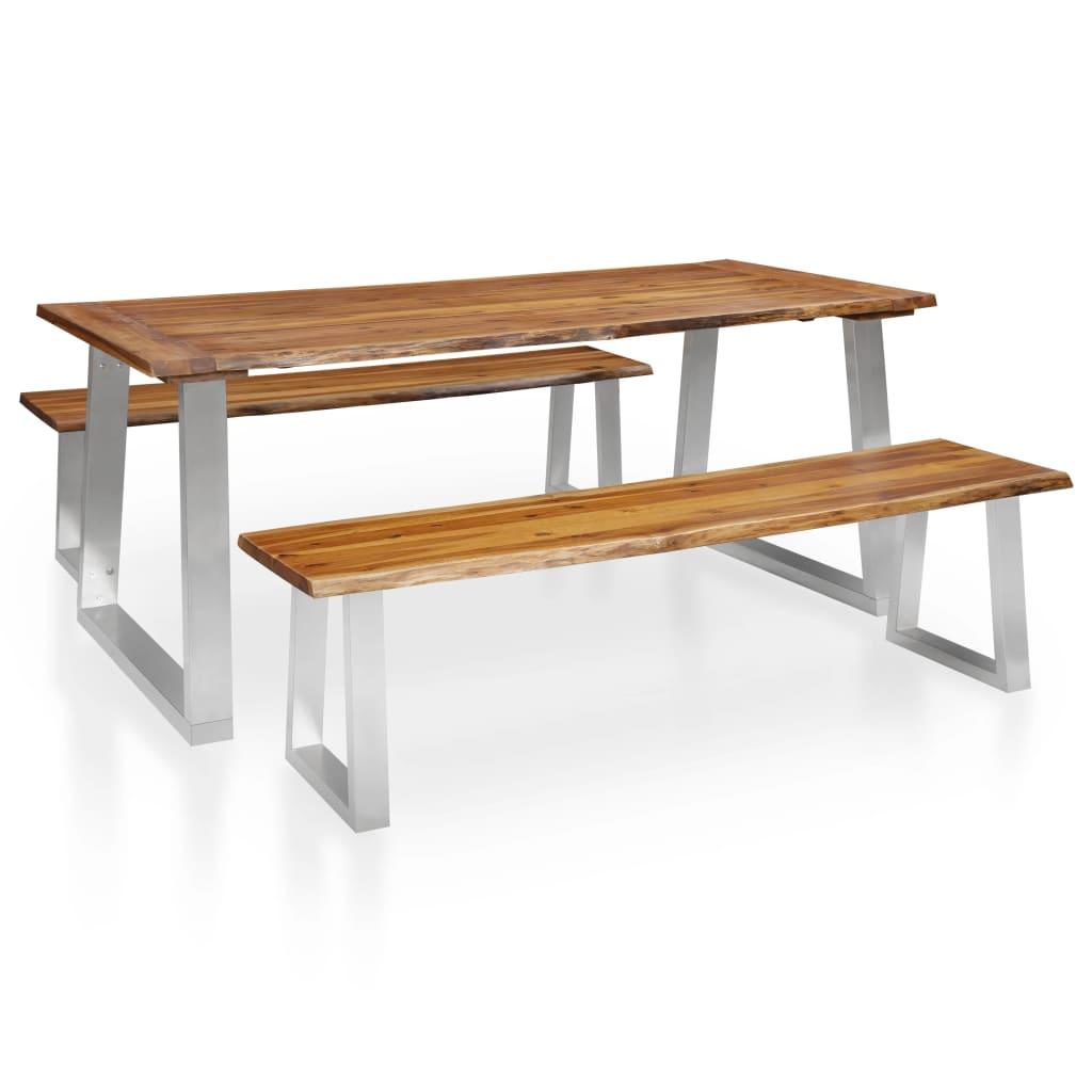 Ensemble de salle à manger 3 pièces en bois d'acacia massif brun