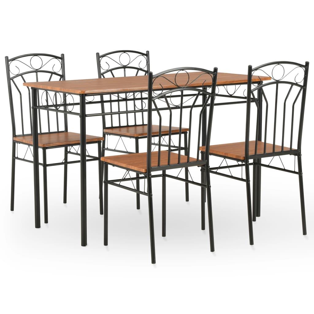 Ensemble de salle à manger 5 pièces MDF et acier brun