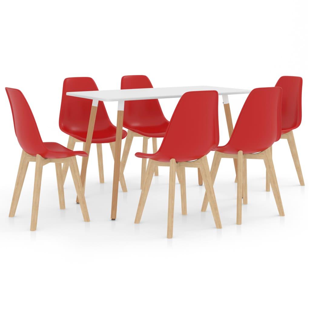 Ensemble de salle à manger 7 pièces Rouge