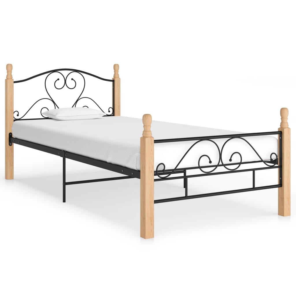 Cadre de lit en métal noir 100x200 cm