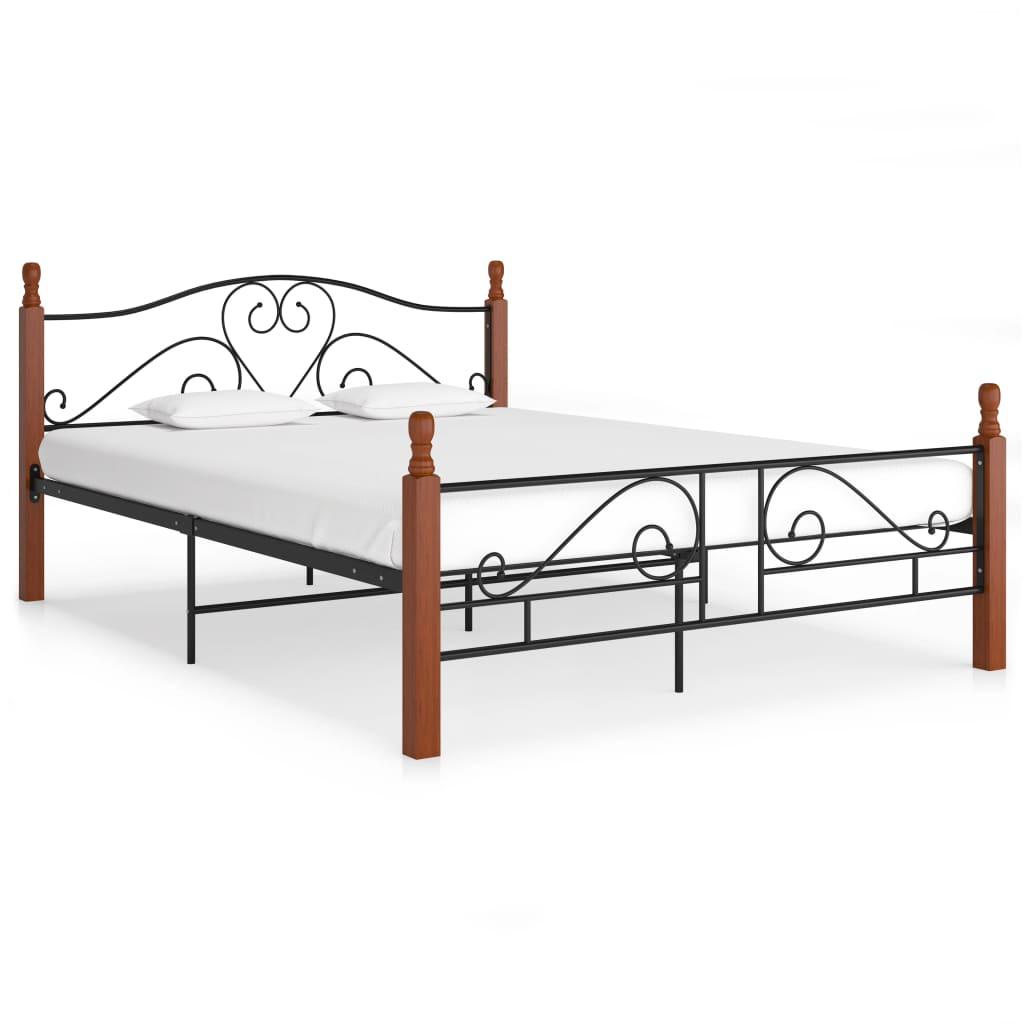 Cadre de lit en métal noir 160x200 cm