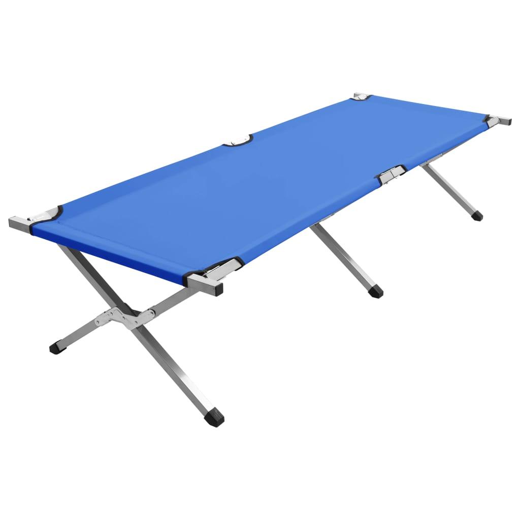 Lettino da campeggio 190x74x47 cm XL Blu