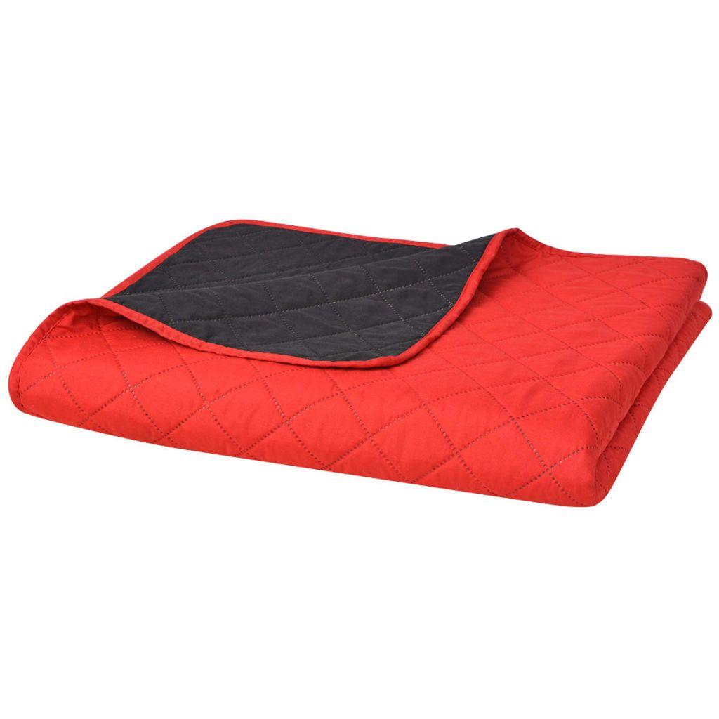 Colcha acolchoada de dupla face vermelha e preta 220x240 cm