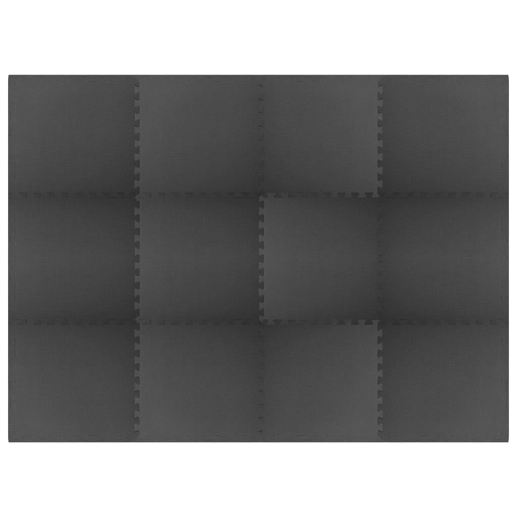 Floor Mats 12 pcs 4.32 ㎡ EVA Foam Black