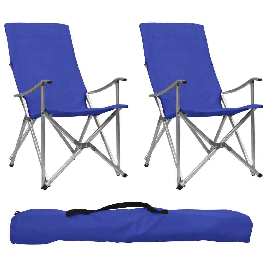 Sedie da campeggio pieghevoli 2 pezzi Blu