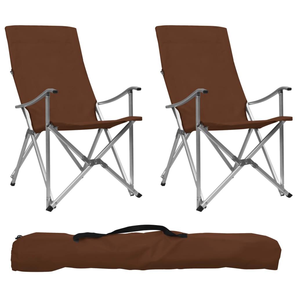 Sedie da campeggio pieghevoli 2 pz Marroni