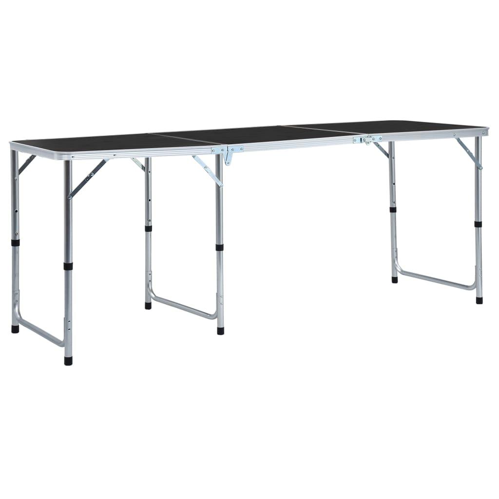 Składany stół turystyczny szary aluminium 180x60 cm
