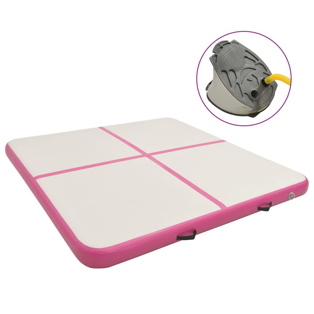 Inflatable Gymnastics Mat with Pump 200x200x10 cm PVC Pink