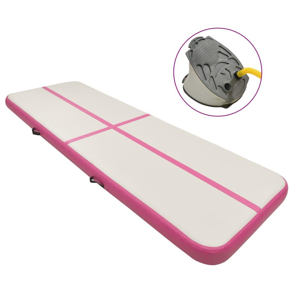 Inflatable Gymnastics Mat with Pump 500x100x20 cm PVC Pink