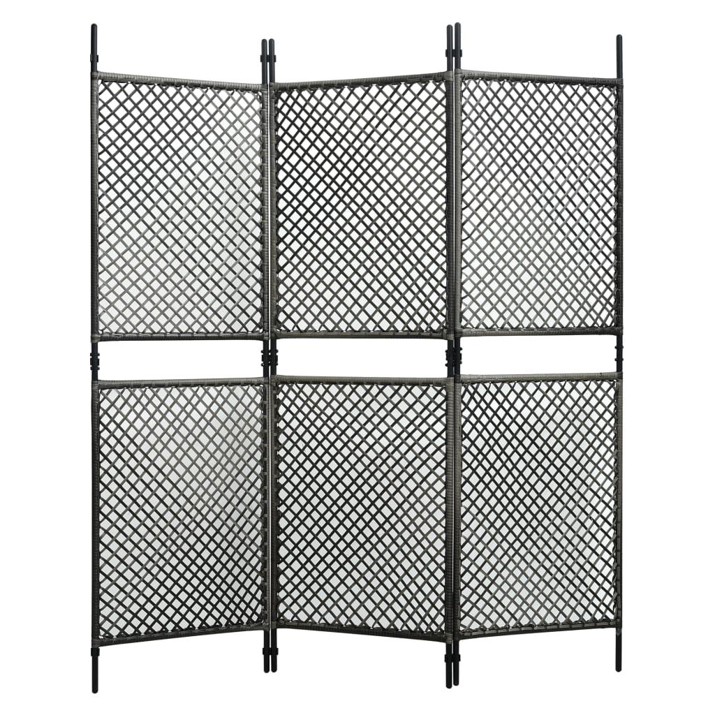 Séparateur de pièce à 3 panneaux en rotin poly anthracite 180x200 cm