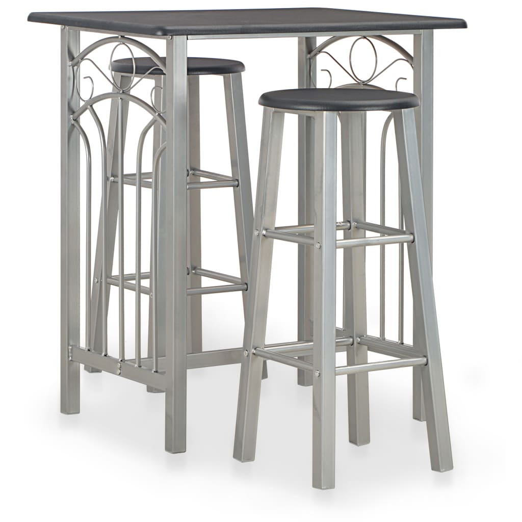 Ensemble de 3 barres en bois et acier noir