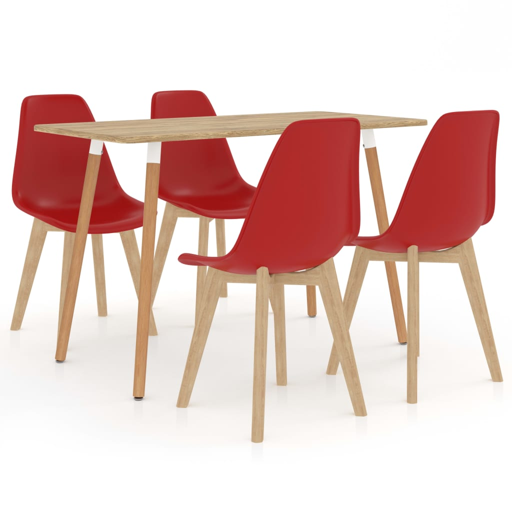 5 Piece Dining Set Red