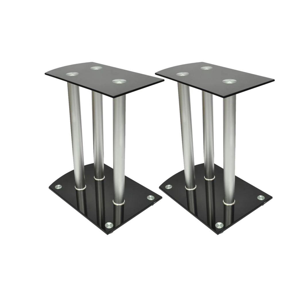 Алюминиевые стойки для колонок, черное стекло, 2шт.