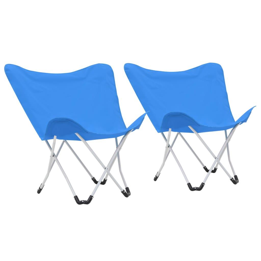 Krzesła kempingowe Butterfly 2 szt. Składane niebieskie