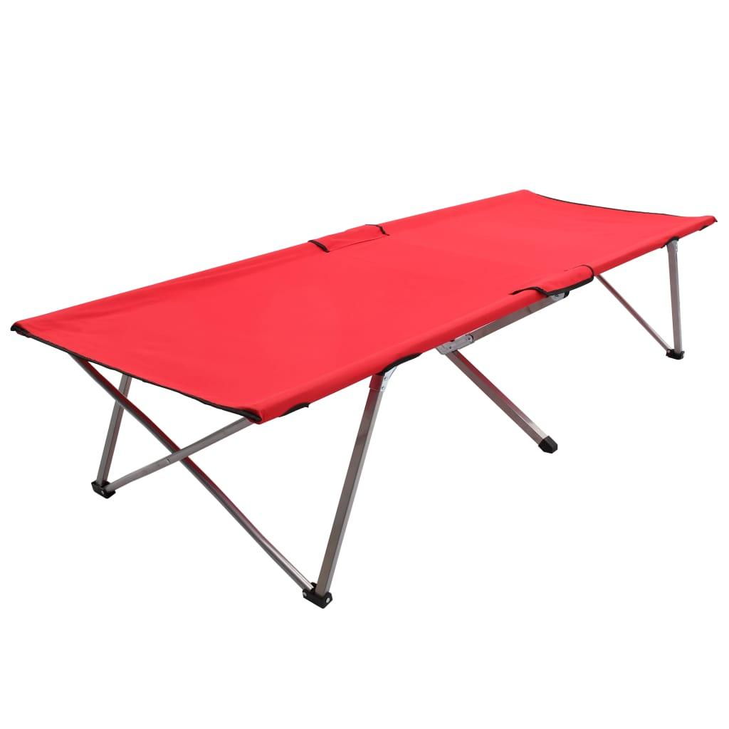 Łóżko kempingowe 206x75x45 cm XXL Czerwone
