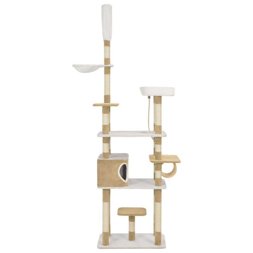 サイザル麻の引っかき棒が付いている猫の木ベージュ235cm