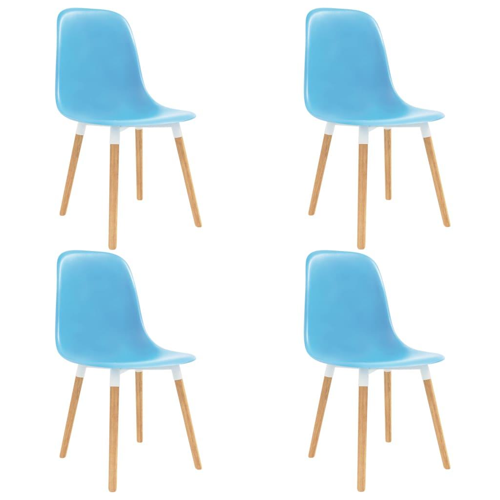 Chaises de salle à manger 4 pièces en plastique bleu