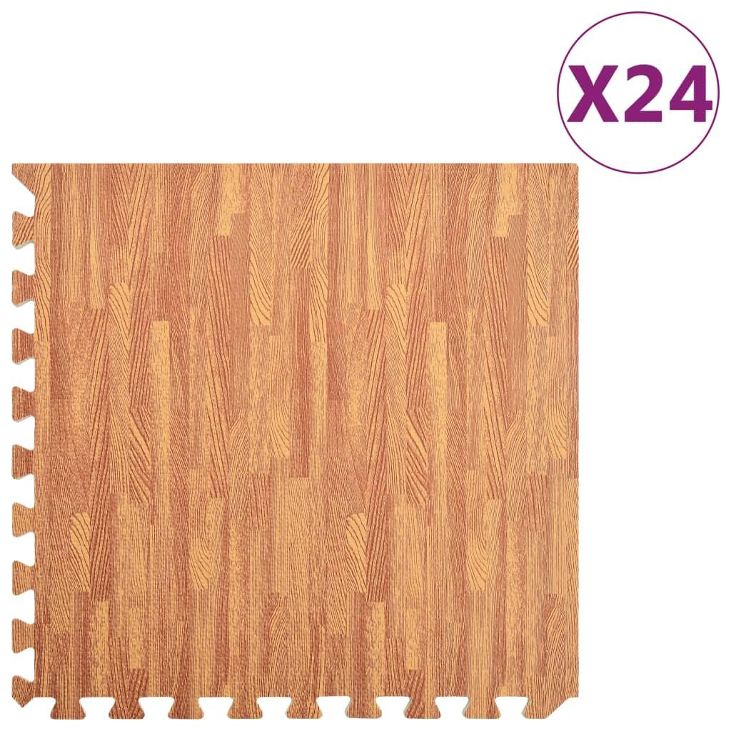 Floor Mats 24 pcs Wood Grain 8.64 ㎡ EVA Foam
