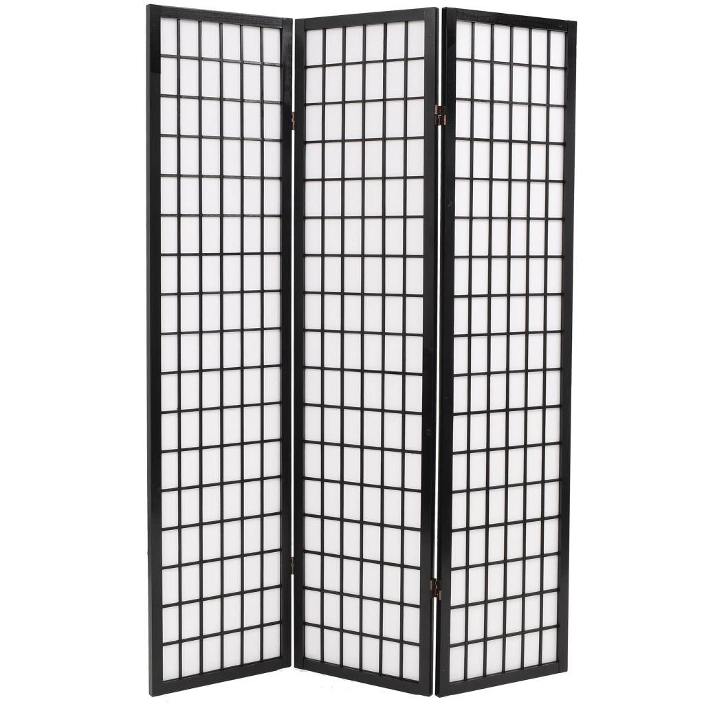 Cloison pliante à 3 panneaux style japonais 120x170 cm noir