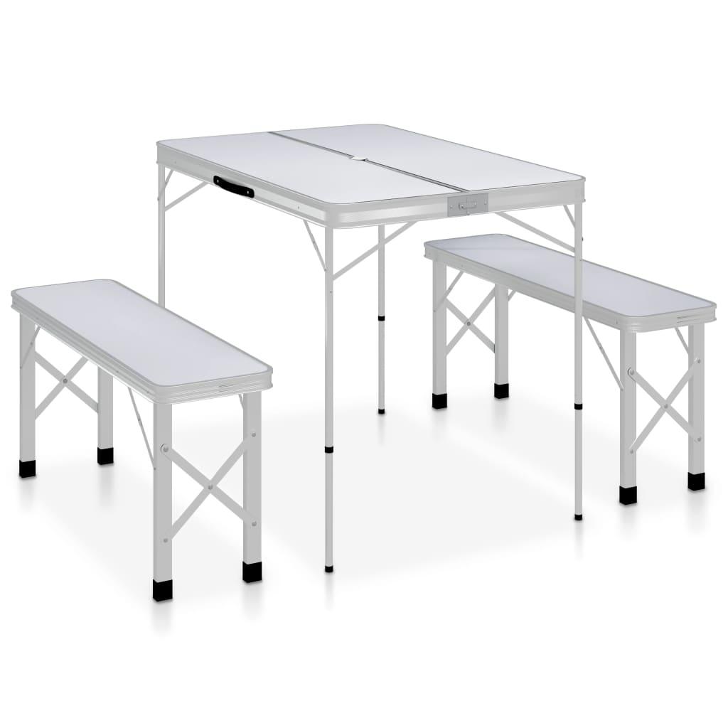 Składany stół kempingowy z 2 ławkami aluminiowy biały