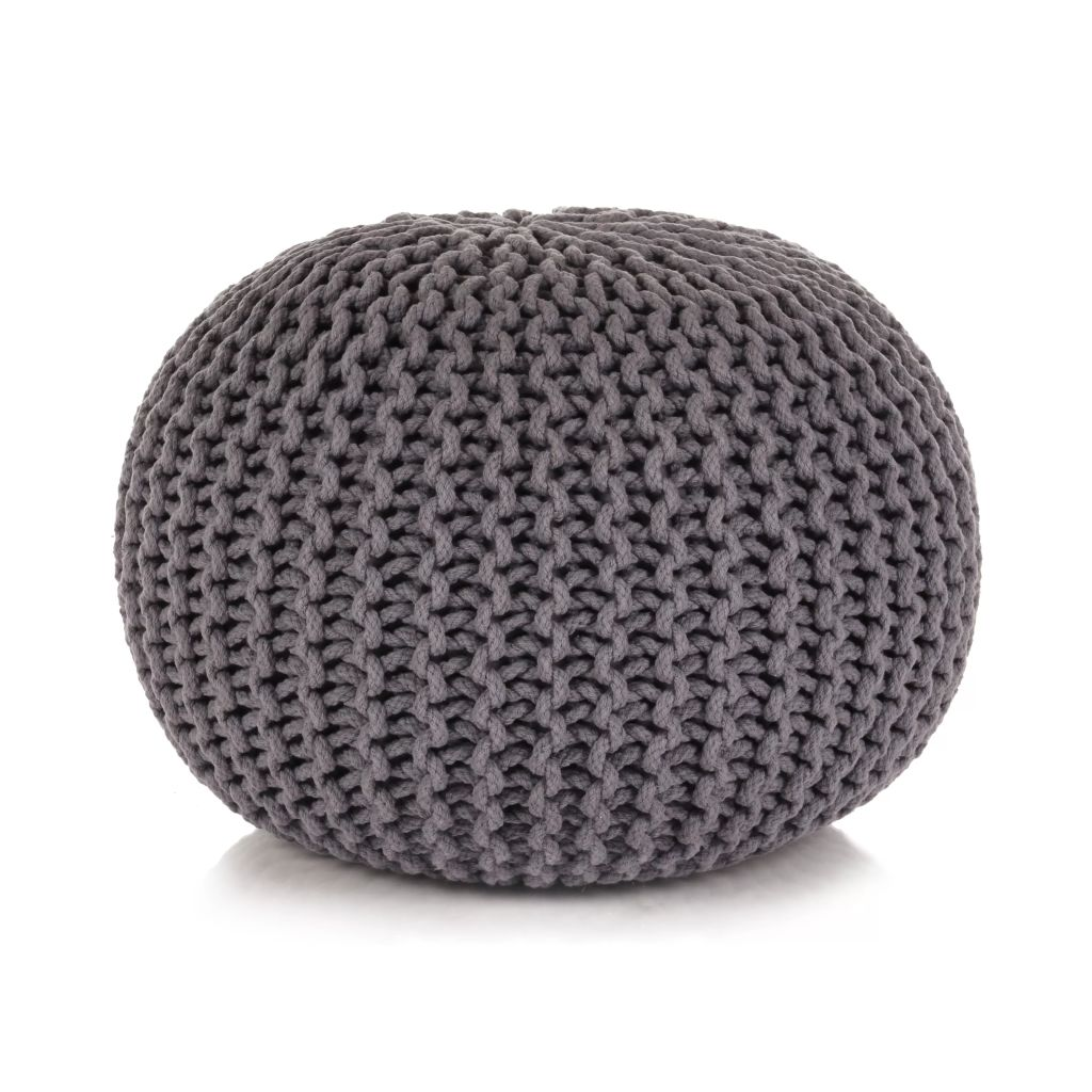 Hand-Knitted Pouffe Cotton 50x35 cm Grey