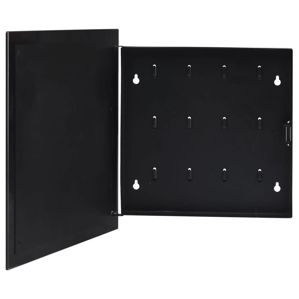 マグネットボード付きキーボックスブラック35x35x5.5cm