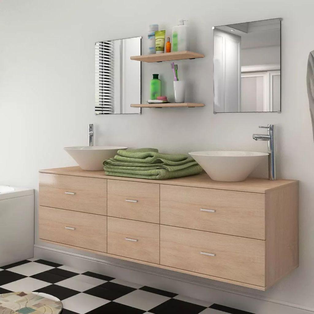 Ensemble de meubles de salle de bain neuf pièces avec lavabo et robinet beige