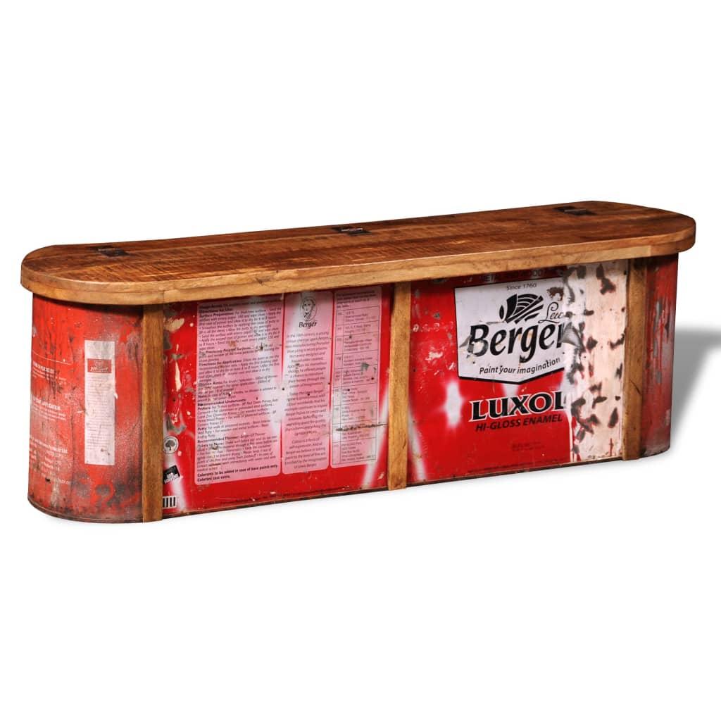 Banc de rangement pour buffet en bois massif récupéré