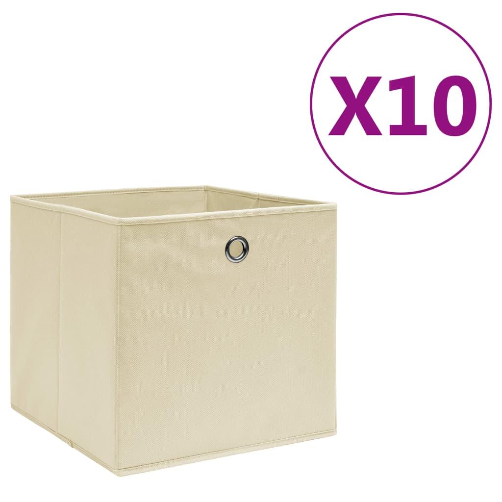 Storage Boxes 10 pcs Non-woven Fabric 28x28x28 cm Cream