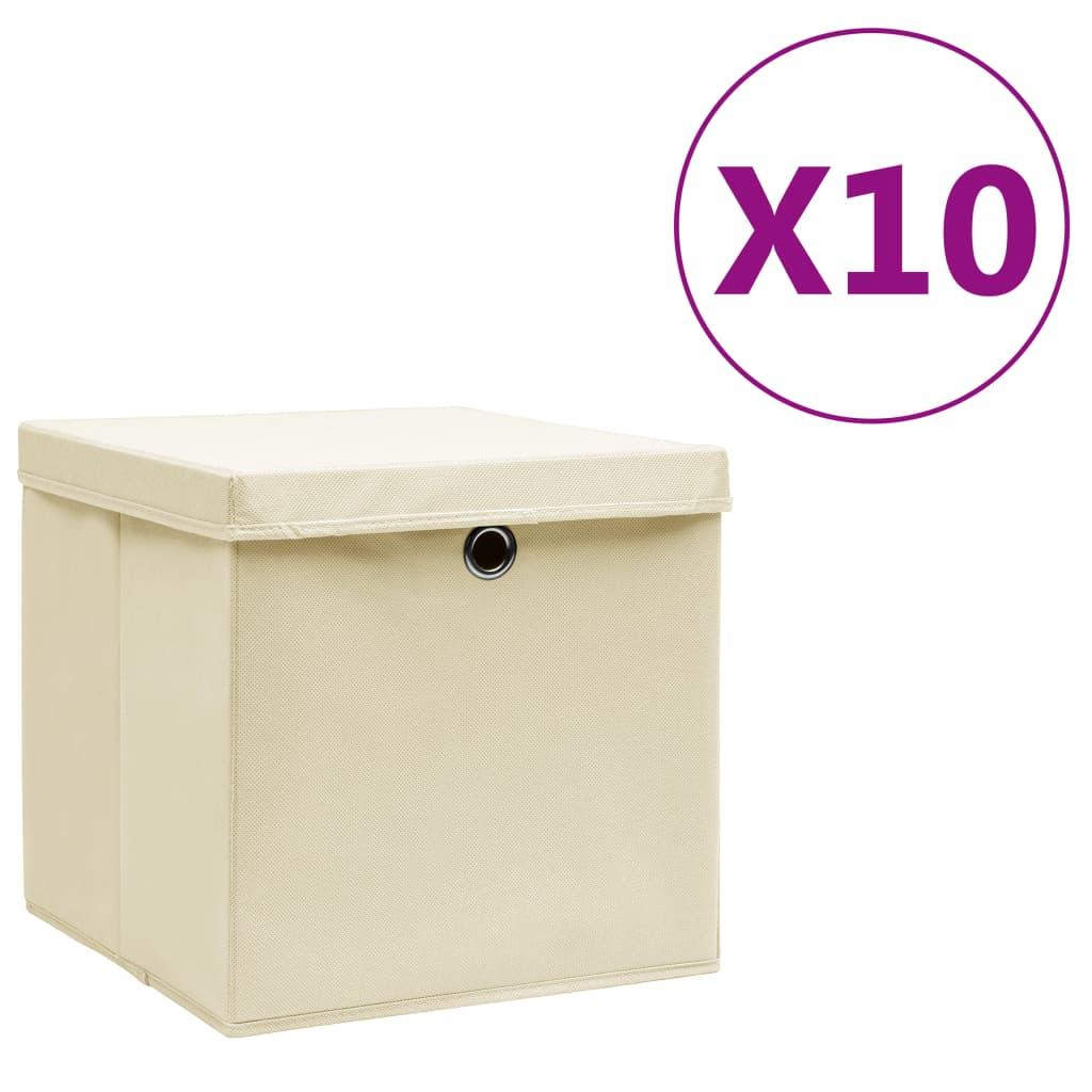 Storage Boxes with Covers 10 pcs 28x28x28 cm Cream