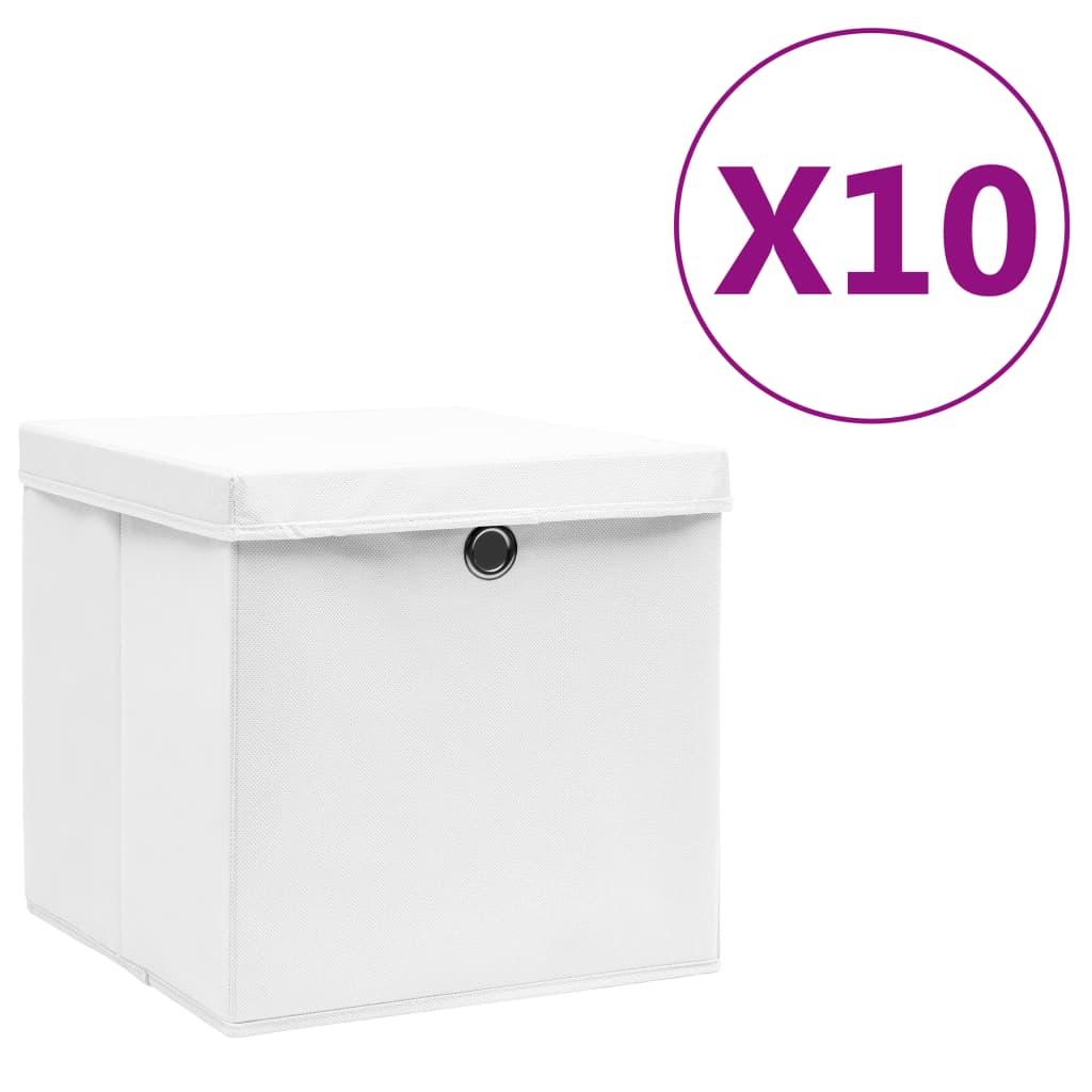 カバー付き収納ボックス10個28x28x28cmホワイト