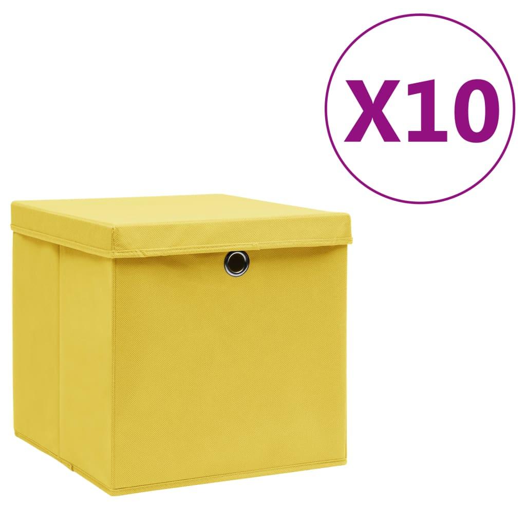Boîtes de rangement avec couvercles 10 pcs 28x28x28 cm Jaune